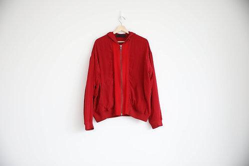 Haider Ackermann Red Silk Hoodie