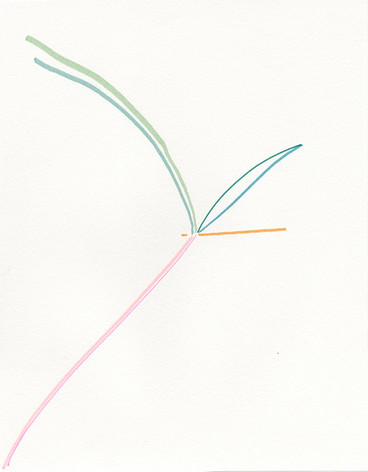 Yuh-Shioh_leaf, marker on paper, 8.5 x 1