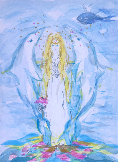 Priestess, Sirius, Lemuria, Atlantis, Dolphins, flowers are her connection to the earth, wearing a string of pearls, emerging from the ancient wisdom of the ocean