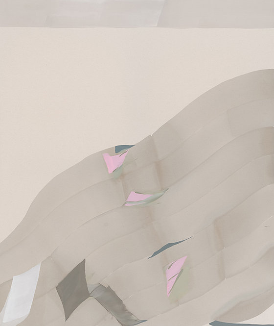 2 falling pink feathers, 2014