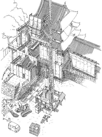尼崎城のスケッチ