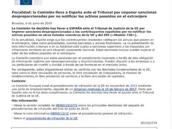 LA COMISIÓN EUROPEA LLEVA A ESPAÑA ANTE EL TRIBUNAL DE JUSTICIA EUROPA.