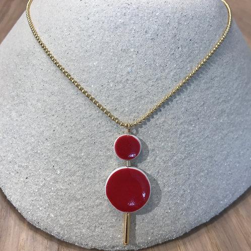 Collier double cercle, ras de cou plaqué or et porcelaine