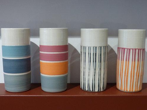 Vase Tube S en grès & porcelaine