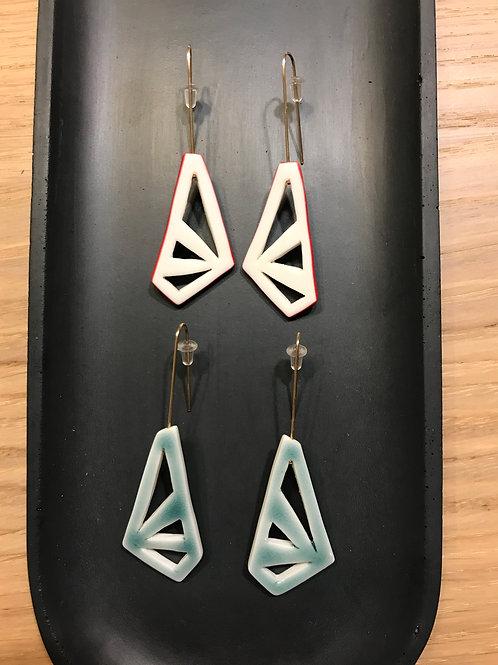 Boucles d'oreilles géométriques, plaqué or et porcelaine