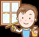 窓掃除の従業員