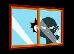 窓がらガラスを割って侵入する泥棒
