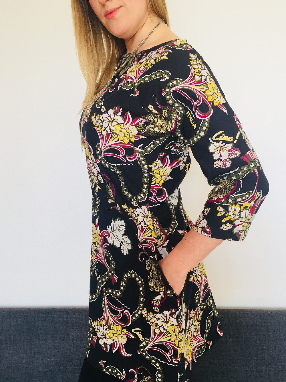 The self-drafted 'wild cat' shift dress