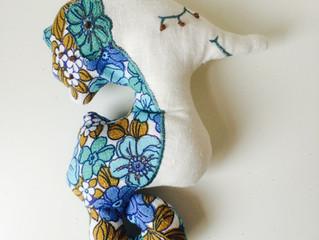 vintage fabric scrap seahorse
