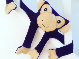 Purple corduroy chimp from a vintage pattern