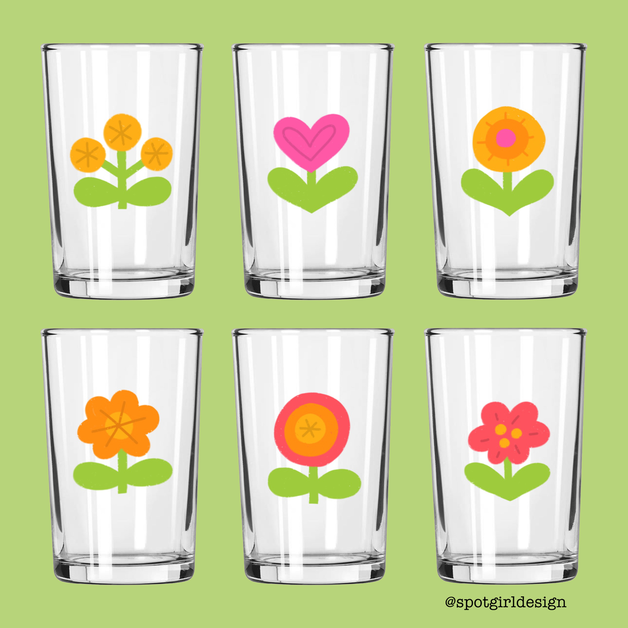 Vintage Flower Juice Glasses