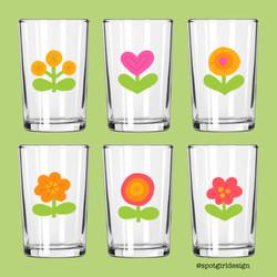 Vintage Flower Juice Glasses
