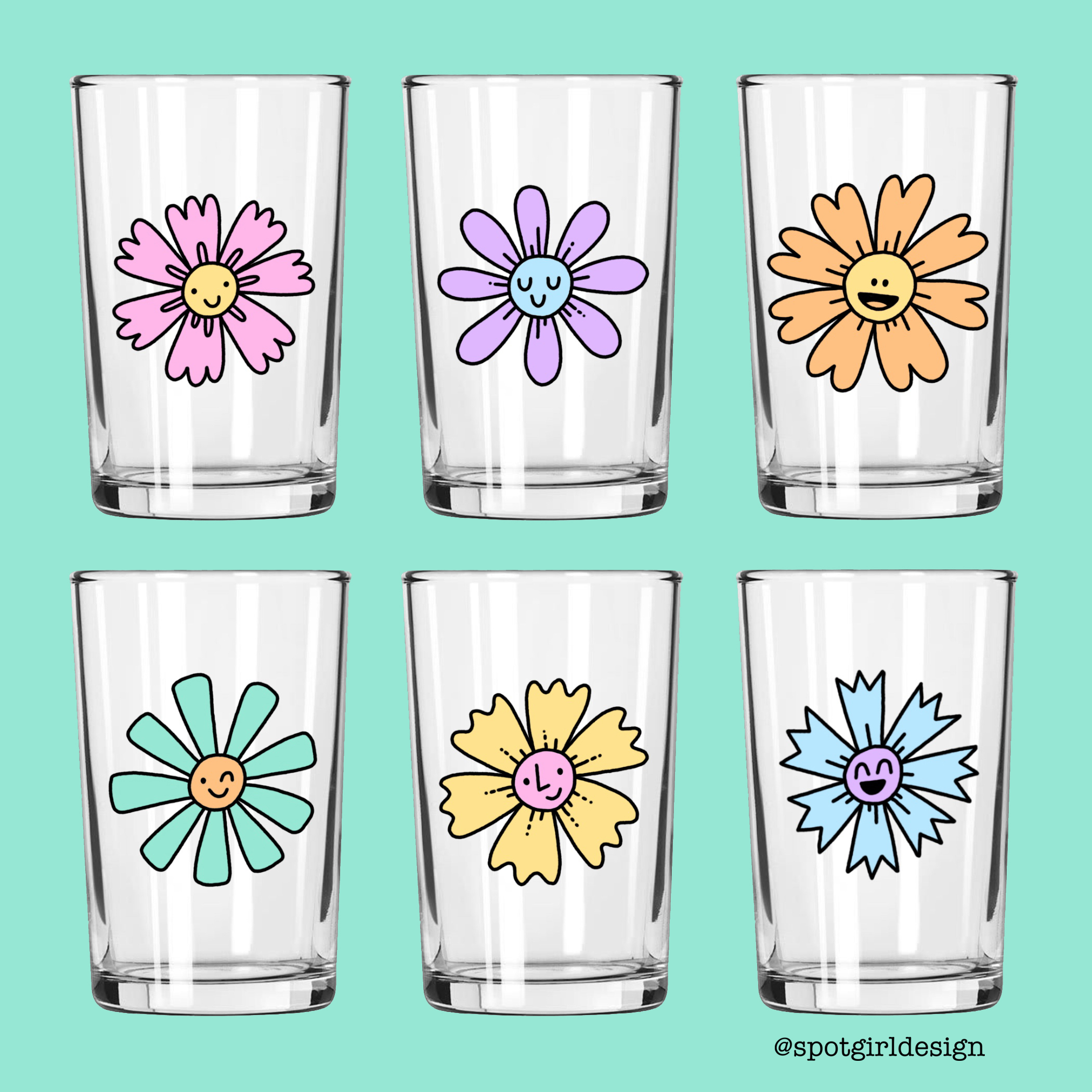 Happy Flower Juice Glasses