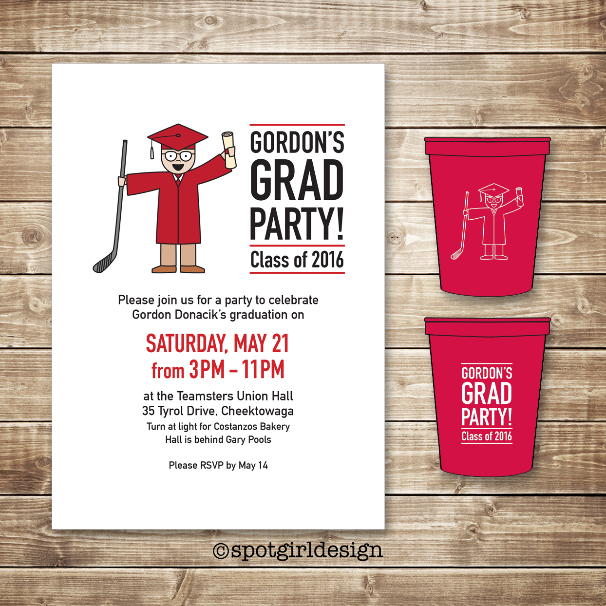 Graduation Invite and Cups