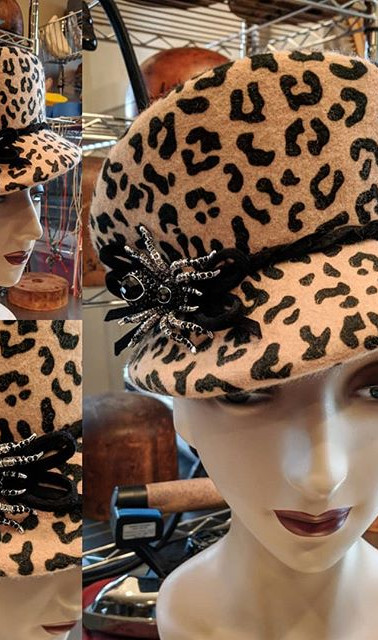 Cheetah Visor Cap with rhinestone spider