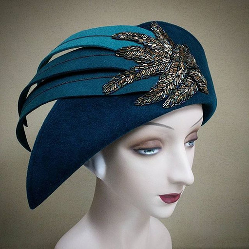 Teal Feather Toque