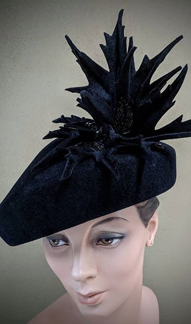 Wicked - black velour felt cocktail hat