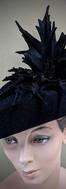 Wicked - black velour felt cocktail hat