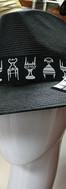 Black Straw Fedora with chair motif ribb
