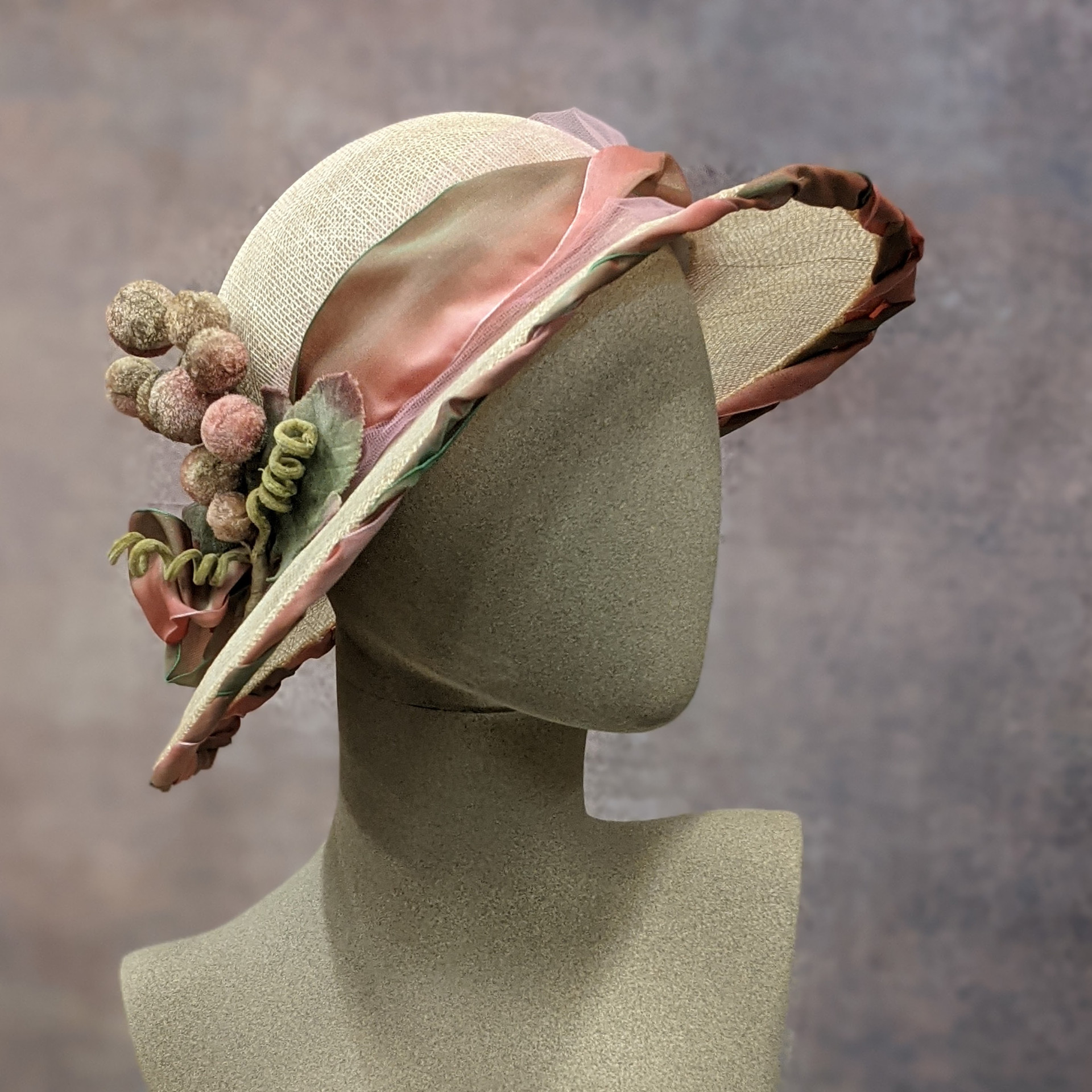 Cloche with ribbon and velvet berries_