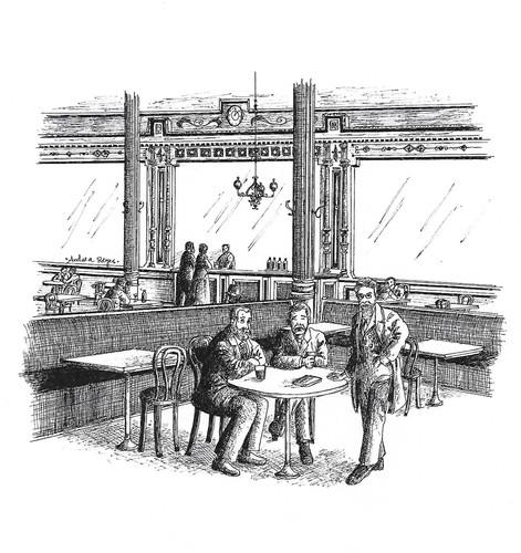 Menéndez Pelayo, Galdós y Pereda en el Café Suizo.