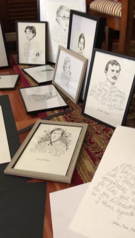 Dibujos para la exposición de caligramas en la librería Polifemo.