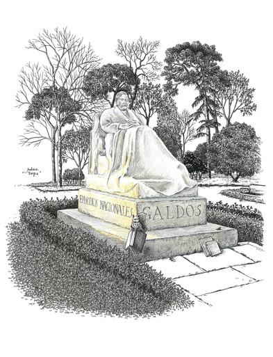 Estatua de Benito Pérez Galdós, y ardilla.