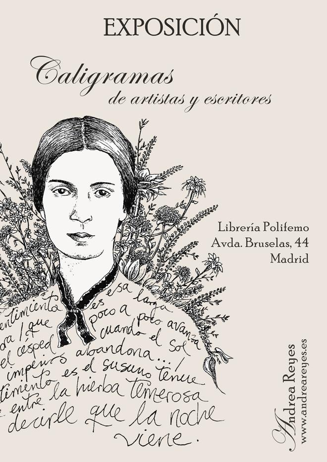 Cartel para la exposición de caligramas en la librería Polifemo.