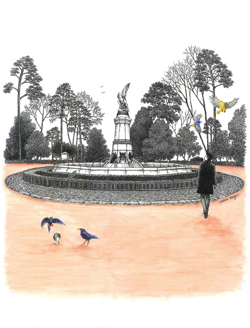 Estatua del Ángel Caído, y distintas aves.