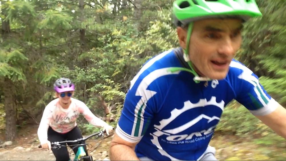 Nels Guloien Mountain Biking with Daughter Marla Guloien