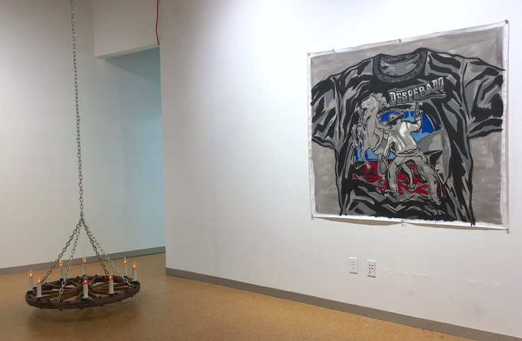 Installation View with Wagon Wheel Chandelier and Desperado Painting