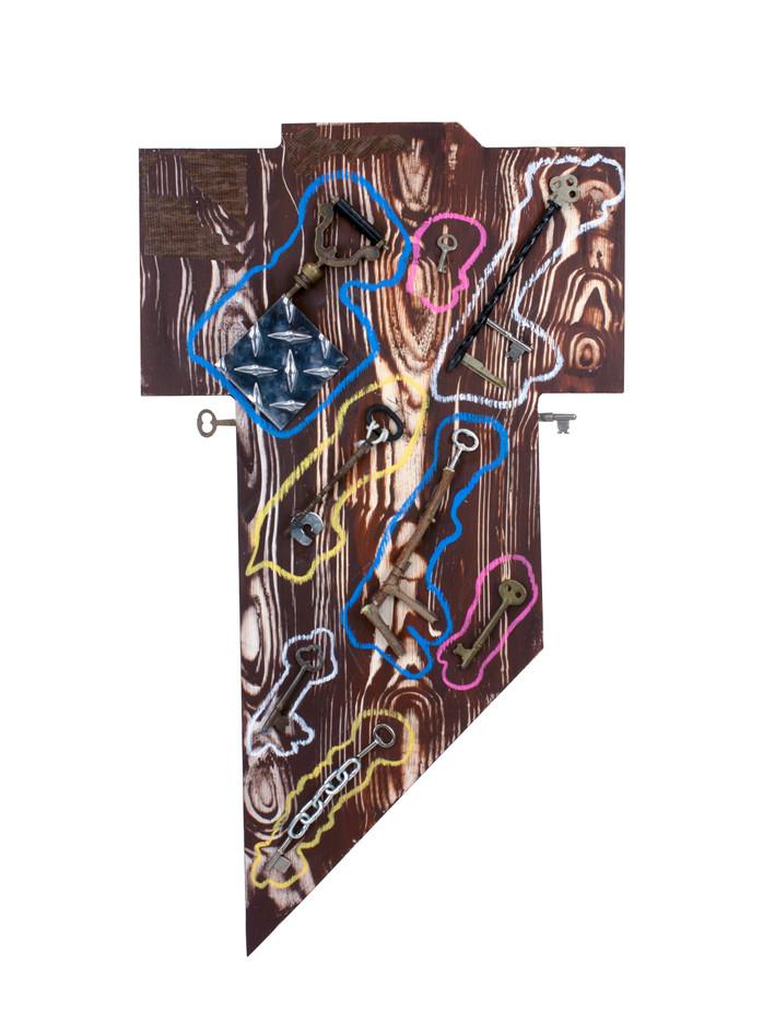 "Cosmic Keys  Acrylic and Mixed Media on Panel 25"" x 14.25"" 2021"