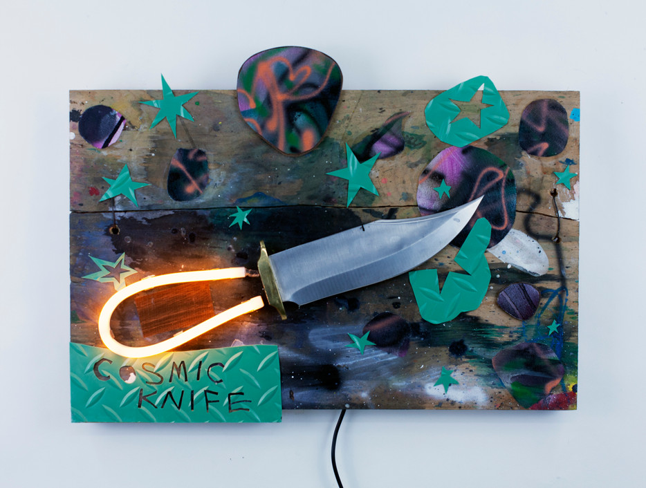 """Cosmic Knife Mixed Media and LED Neon on Panel  18"""" x 13"""" 2021"""