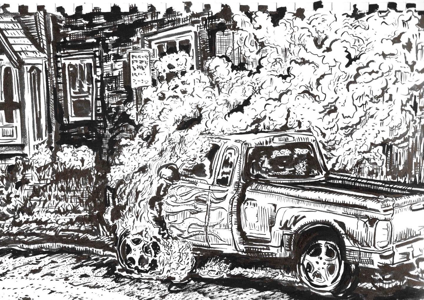 Car With Flames On Fire (Sketchbook Project)