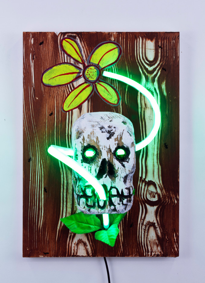 """Skull, Flower and Ants Acrylic, Wood and LED Neon on Panel  10.75"""" x 15.5"""" x 7.5"""" 2020"""