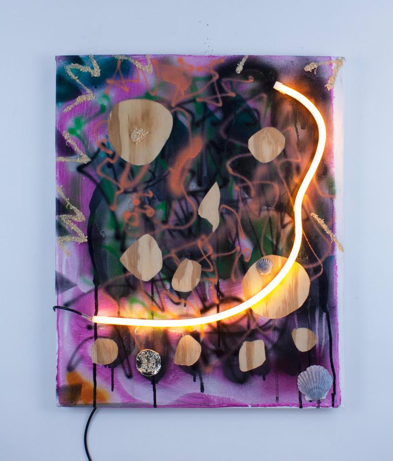 "Wild Skull (all Beach) Acrylic on Canvas, Mixed Media and LED Neon on Panel  20"" x 16.5"" 2021"