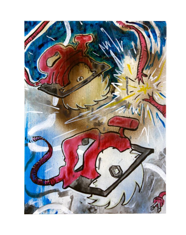 "2 Circ Saws (& Sparks) Acrylic on Panel 12.25"" x 9"" 2021"