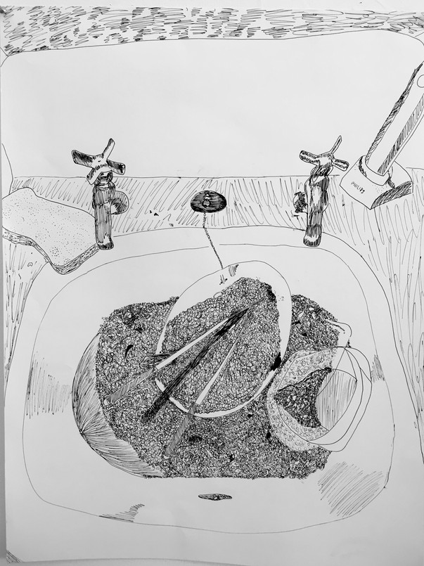 Dirty Sink Contour Line Drawing