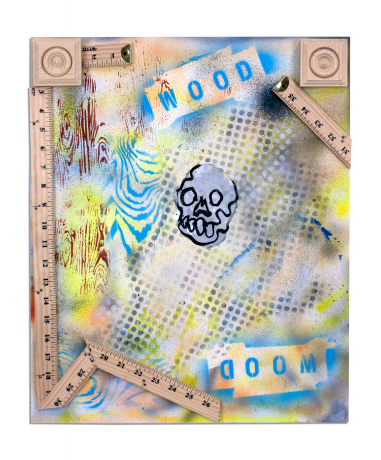 """Wood Doom! Acrylic with Wooden Objects on Panel 17"""" x 21"""" 2020"""