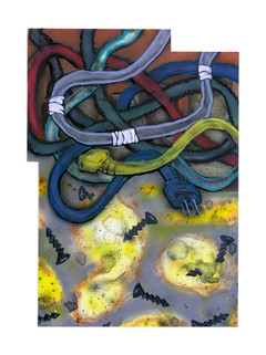 "Cords, Screws and Sawdust Acrylic, Watercolor and Oilstick on Panel  19.25"" x 13.75"""