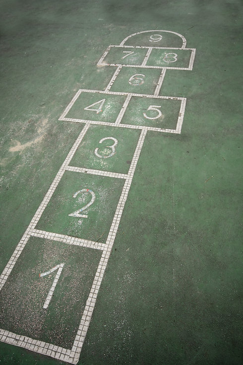 It is a hopscotch in yard for childern..