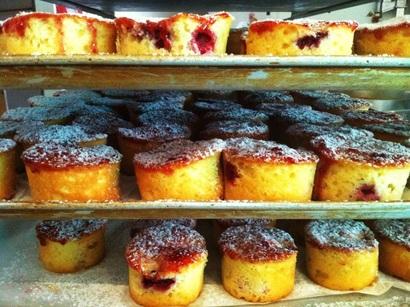raspberry and almond cakes on racks