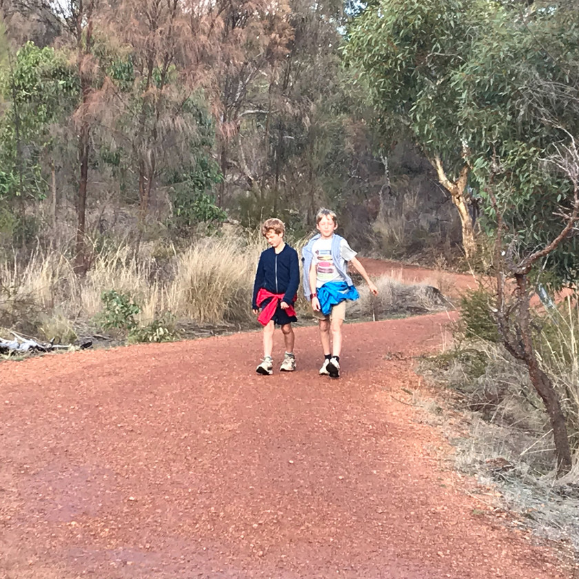 boys on the walking trail in Helena Valley