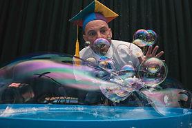 Marty McBubble explaining bubble science