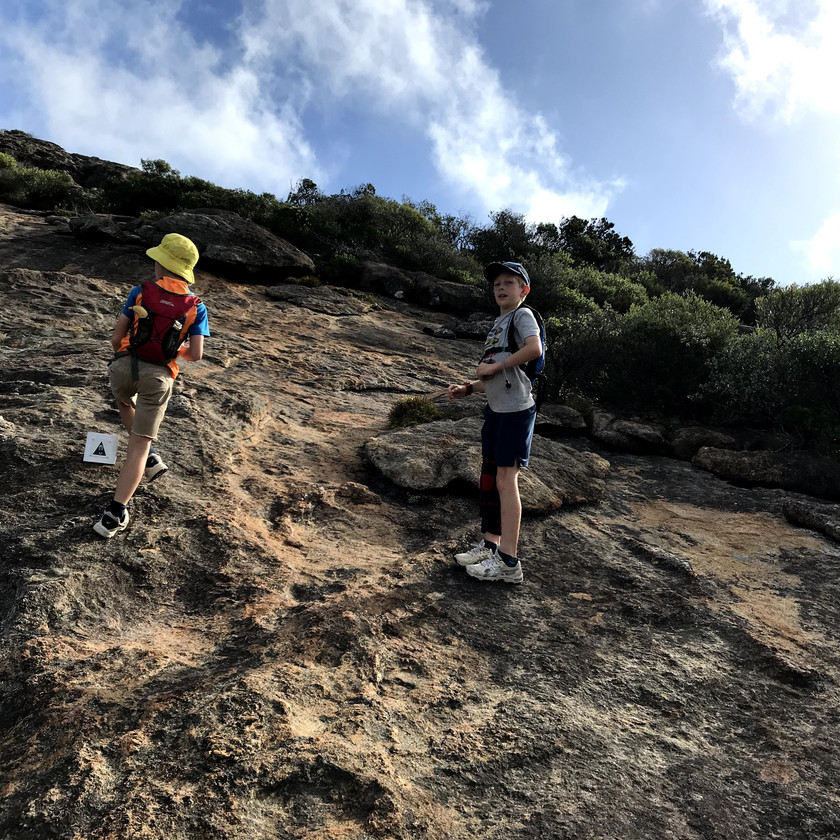 boys climbing frenchman's peak