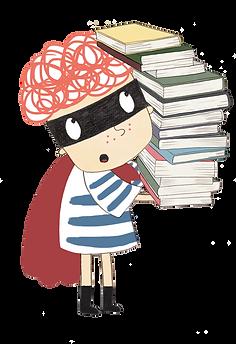 Oscar_holding_book_stack Illustration (1
