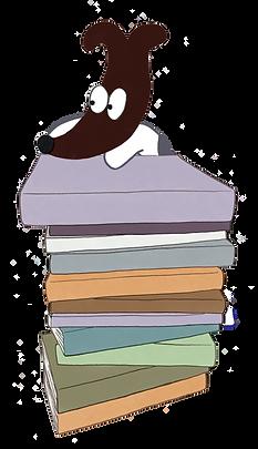 Bentley_behind_book_stack Illustration (