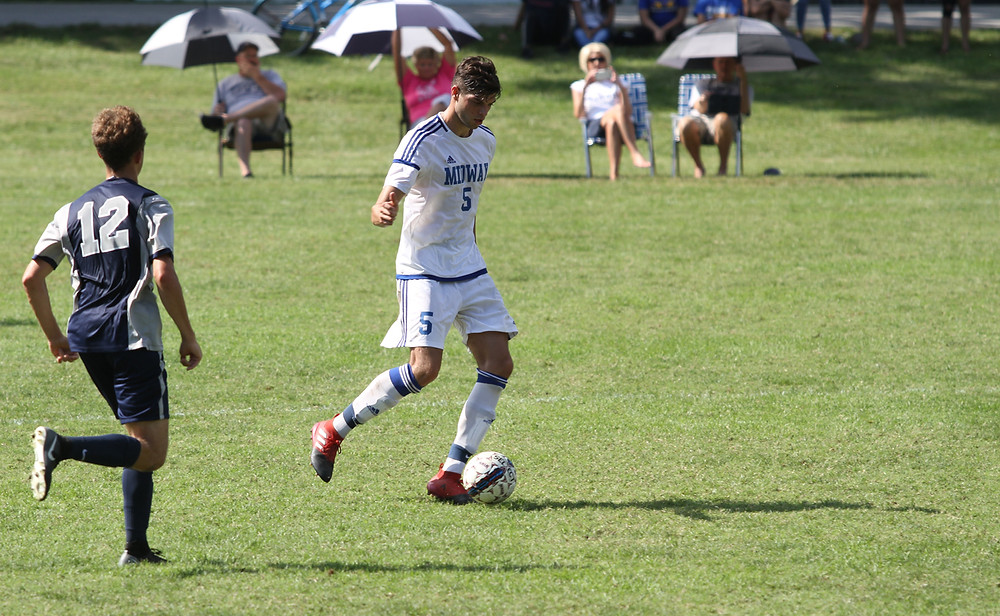 SENIOR MIDFIELDER Pol Marco netted his first goal of the season in Midway's 4-2 victory over Shawnee State (Ohio) last week. (Midway University photo)