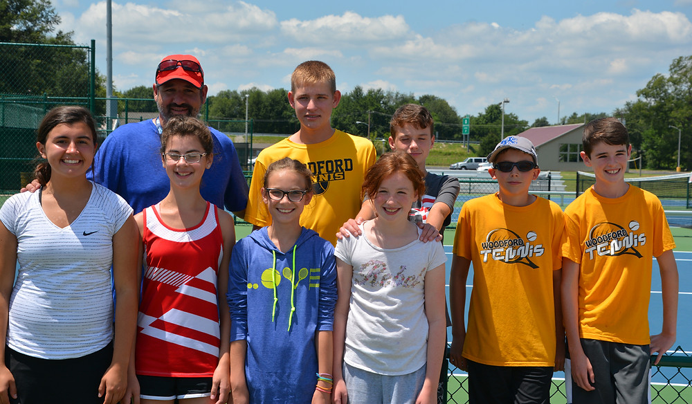 THE WOODFORD COUNTY Youth Tennis Team 14U squad celebrated a great season by reaching the final four at the state tournament. Front row, from left, are Claire Pinkston, Alena Trent, Addie Patterson,  Cassidy Stiefel, Simon Swansegar, and Parker Polk; back row, Sam Polk (coach), Evan Bentley, and Zachary Stiefel. (Photo submitted)