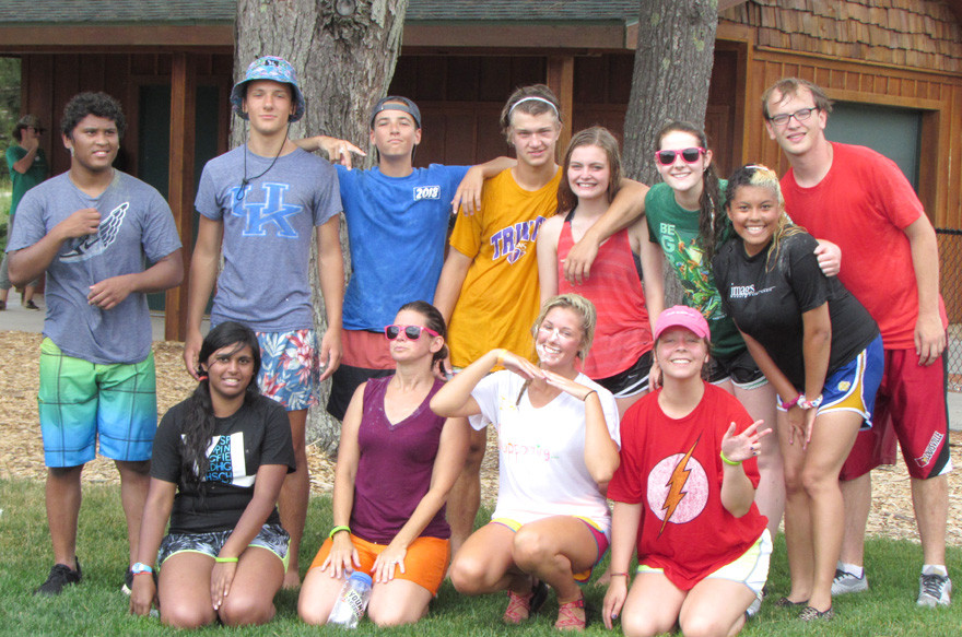 YOUNG LIFE Woodford County held its inaugural summer camp in Lake City, Mich., this year. Front, from left, are Ann Varatharaj, Nikki Branham, Eli Bradshaw and Anna Shank; back, D.J. Bernabe, Mason Senters, Lane Moore, Carson Craig Lucy Childers, Courtney Branham, Alexis Kirkland and Chris Eckroth. (Photo submitted)